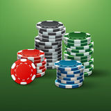 Casino poker chips. Vector realistic red, black, blue, green casino chips stacks side view on poker table vector illustration