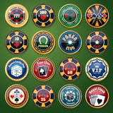 Casino and poker club color glossy vector labels Royalty Free Stock Image