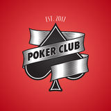 Casino, poker club  logo, icon. Illustration with spade cards suit Stock Image