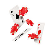 Casino poker design template. Falling poker cards and chips game concept.. Casino lucky background isolated Stock Images