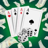 Casino Poker Design Vector. Poker Cards, Playing Gambling Cards. Lucky Night VIP Winner Concept. Realistic Illustration. Casino Poker Design Vector. Poker Cards Stock Image