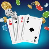 Casino Poker Design Vector. Poker Cards, Chips, Playing Gambling Cards. Royal Poker Club Emblem Concept. Fortune Royalty Free Stock Photo