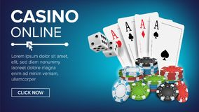 Casino Poker Design Vector. Success Winner Royal Casino Poster. Poker Cards, Chips, Playing Gambling Cards. Realistic. Casino Poker Design Vector. Casino Theme Stock Photos