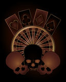 Casino poker elements with skulls Stock Photos