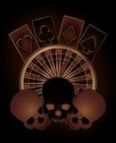 Casino poker elements with skulls vector illustration