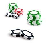 Casino and poker gambling chips. Casino poker gambling chips or bet tokens. Vector isolated poker game green, red and black chips pile stacks set for online vector illustration