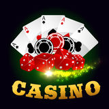 Casino poker game cards, chips, playing dices Stock Photo