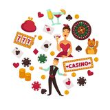 Casino poker game or gambling bets poster of roulette playing cards, chips and dice vector icons. Casino poker game and jackpot win symbols poster. Vector design vector illustration