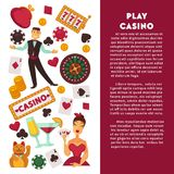 Casino poker game vector poster. Casino poker game and jackpot gamble poster. Vector symbols of casino croupier playing cards, roulette and gambling chips or royalty free illustration