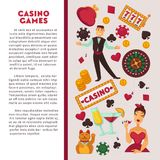 Casino poker game vector poster. Casino poker game poster template with jackpot gamble symbols. Vector design of casino croupier playing cards, roulette jackpot vector illustration