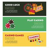 Casino poker online game vector web banners. Casino poker game web banners for online internet gambling bets advertising. Vector design of casino playing cards Stock Photo
