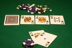 Casino poker on green table Royalty Free Stock Photo