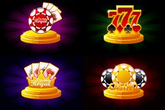 Casino and Poker icons. Symbols poker, 777, Playing Cards and game chip. Vector illustration for casino, slots and game. UI. Objects on a separate layer stock illustration