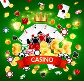 Casino poker jackpot, wheel of fortune gamble game vector illustration