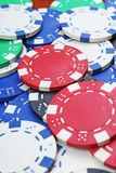 Casino poker money chips texture. Stack of poker chips as background. Poker casino token tokens as background. Royalty Free Stock Image