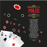Casino Poker poster or banner background or flyer template. Stock Photos