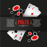 Casino Poker poster or banner background or flyer template. Royalty Free Stock Images
