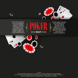 Casino Poker poster or banner background or flyer template. Stock Images