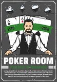 Casino poker room, ace cards and croupier. Poker room, casino croupier and gambling. Retro vector play card suits, aces combination, hearts and diamonds, spades stock illustration