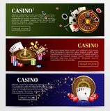 Casino poker roulette cards, dice vector web banners templates. Casino poker web banners templates. Design of gambling dice, roulette game chips and playing Royalty Free Stock Images