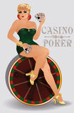 Casino poker sensual pin up girl, vector Stock Images