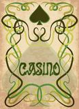 Casino Poker spades card in art nouveau style. Vector illustration Royalty Free Stock Photo