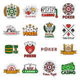 Casino poker vector templates of chips and gamble cards Stock Photography