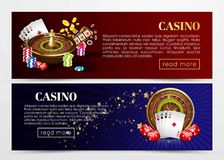 Casino poker web banners templates. Design of gambling dice, roulette game chips and playing cards aces, golden horseshoe symbol. Vector set of gold royal Stock Images
