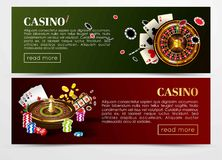 Casino poker web banners templates. Design of gambling dice, roulette game chips and playing cards aces, golden horseshoe symbol. Vector set of gold royal Royalty Free Stock Images