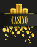Casino Poster Background or Flyer with Golden Money Coins. Vector Template. Casino Banner. Casino Games Gambling Template background royalty free illustration