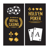 Casino poster with cards for poker play chips Stock Image