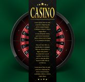 Casino poster or flyer design. Casino banner template with Roulette Wheel isolated on green background. Playing casino. Games. Vector illustration EPS 10 Royalty Free Stock Photography