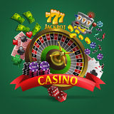 Casino Poster On Green Background. Casino poster with roulette in center and cards dice money  coins chips around it cartoon vector illustration Royalty Free Stock Photos