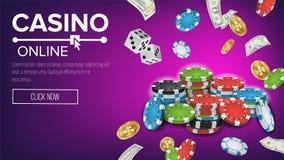 Casino Poster Vector. Online Poker Gambling Casino Poster Sign. Jackpot Billboard, Promo Concept Illustration. Stock Images