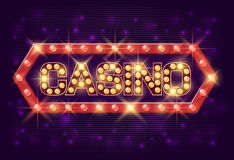 Casino poster vintage style. Casino banner with glowing lamps for online casino, poker, roulette, slot machines, card Stock Photo