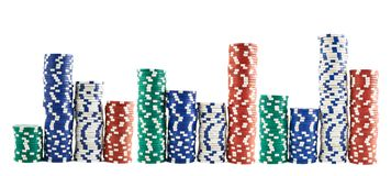 Casino que joga as pilhas das microplaquetas isoladas Imagem de Stock