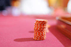 Casino Red Chips Stock Images
