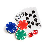 Casino Red Dice, Play Cards As Roial Flush And Chips Isolated Stock Photos