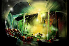 Casino restaurant with Pianist lounge illustration Royalty Free Stock Photo