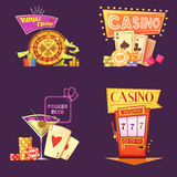 Casino Retro Cartoon 2x2 Icons Set Royalty Free Stock Images