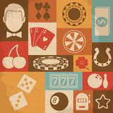 Casino retro icons set. Vector illustration Stock Images
