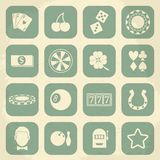 Casino retro icons set. Vector illustration Royalty Free Stock Images
