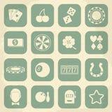 Casino retro icons set. Vector illustration Royalty Free Stock Images
