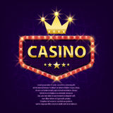 Casino retro light sign with gold crown for game, poster, flyer, billboard, web sites, gambling club. Banner billboard. Casino retro light sign for game, poster royalty free illustration