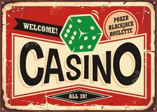 Casino retro sign. Vintage tin sign with green dice on red background, Casino gambling sign board decoration Royalty Free Stock Image