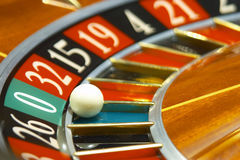 Casino, roulette #1. Roulette wheel with playball on 0 royalty free stock photos