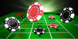 Casino roulette. Casino tokens rolling on roulette felt table (3d illustration stock illustration