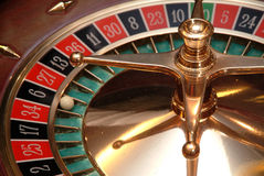 Casino roulette. Ball in the number six Royalty Free Stock Photography