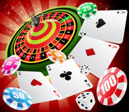 Casino and roulette. A roulette table with various gambling and casino elements stock illustration