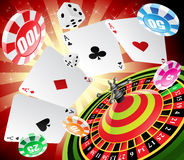 Casino and roulette. A roulette table with various gambling and casino elements vector illustration